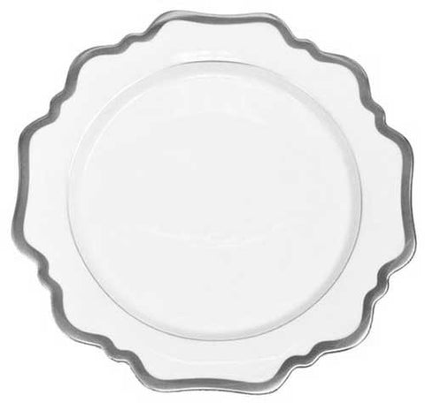 Antique White w/ Brushed Platinum Salad/ Dessert Plate