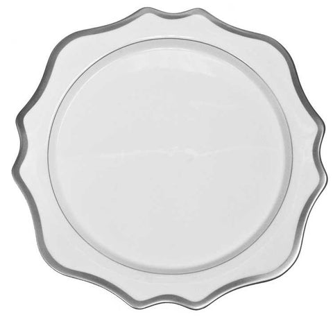 Antique White w/ Brushed Platinum Dinner Plate