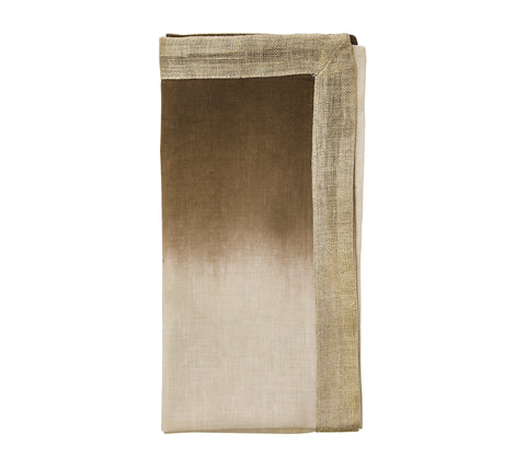 Dip Dye Napkin in Natural, Brown & Gold, Set of 4