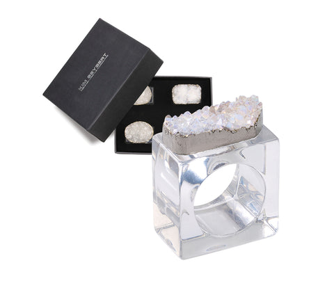 Rock Crystal Napkin Ring,Set of 4