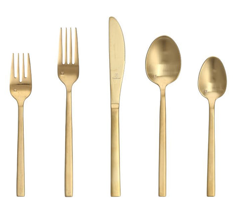 Arezzo Brushed Gold Flatware, Set of 20