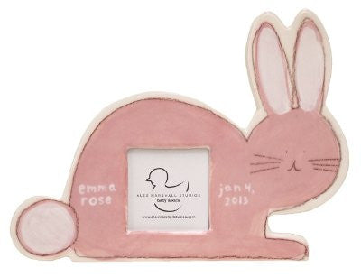 Bunny Picture Frame Pink on White