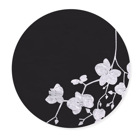 Black & White Cherry Blossom Leaf Placemat, Set of 4