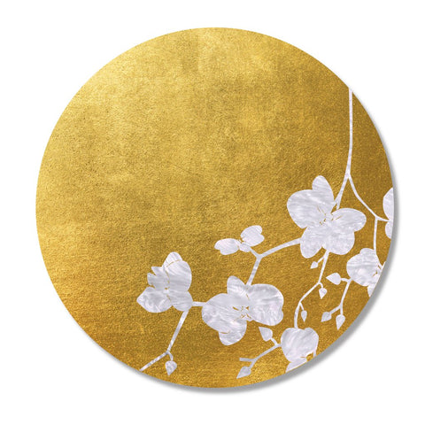 Gold & White Cherry Blossom Leaf Placemat, Set of 4