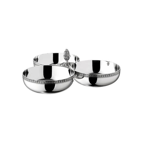 Malmaison Silver Plated Triple Bowl Condiment/ Snack Dish