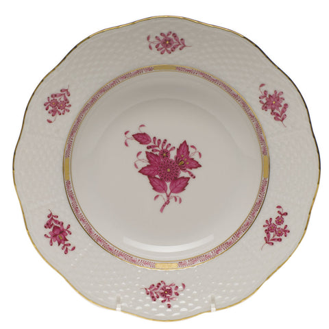 Chinese Bouquet Raspberry Rim Soup Plate