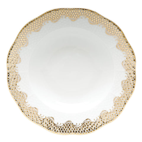 Fish Scale Rim Soup Plate Gold