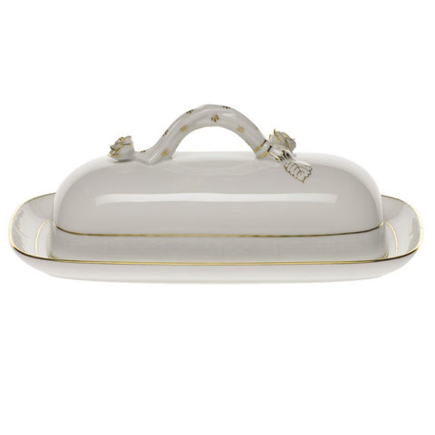 Golden Edge Butter Dish w/ Branch