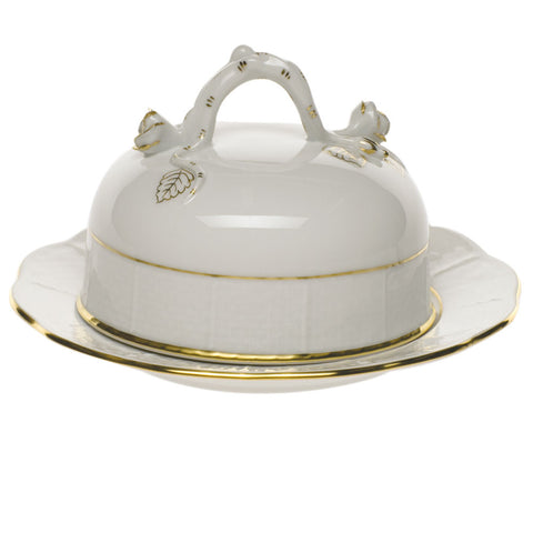 Golden Edge Covered Butter Dish w/ Branch