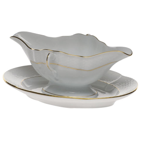 Golden Edge Gravy Boat w/ Fixed Stand