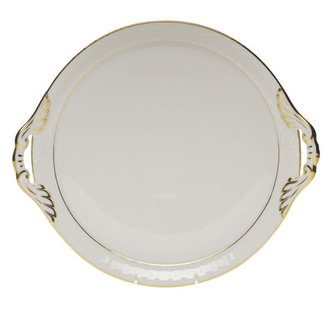 Golden Edge Round Tray w/ Handles