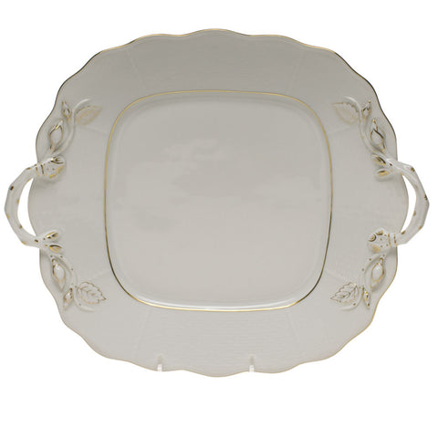 Golden Edge Square Cake Plate w/ Handles