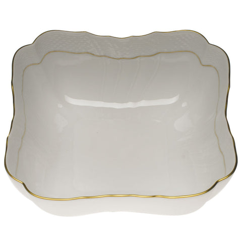 Golden Edge Square Salad Bowl
