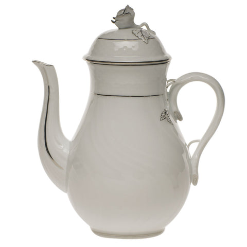 Platinum Edge Coffee Pot w/ Rose