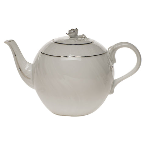 Platinum Edge Tea Pot w/ Rose