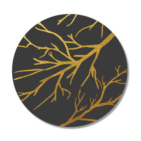 Black & Gold Branches Print Placemat, Set of 4
