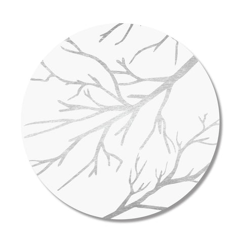 White & Silver Branches Print Placemat, Set of 4