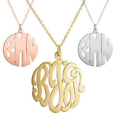 Cut Out Monogram Necklace 1 1/4