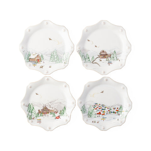Berry & Thread North Pole Scalloped Dessert/Salad Plate, Set of 4