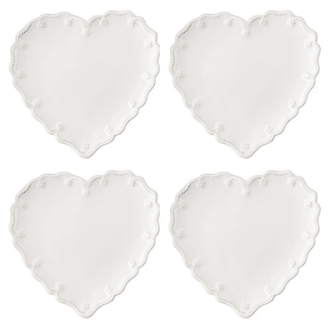 Berry & Thread Whitewash Heart Cocktail Plate, Set of 4