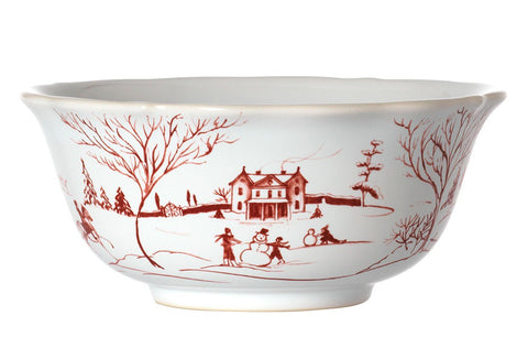 Country Estate Winter Frolic Ruby Cereal/ Ice Cream Bowl