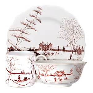 Country Estate Winter Frolic Ruby Dinnerware