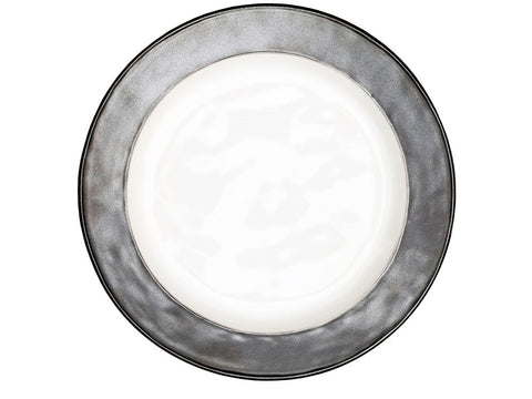 Emerson White/ Pewter Dinner Plate