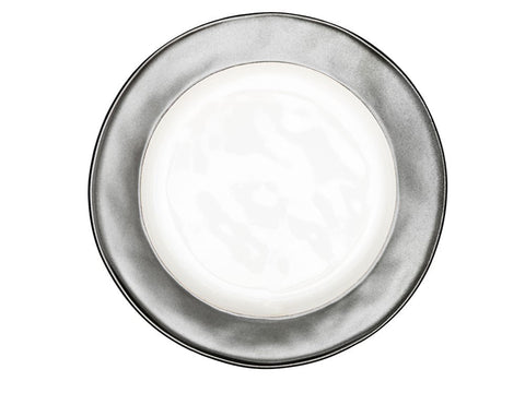 Emerson White/ Pewter Salad Plate