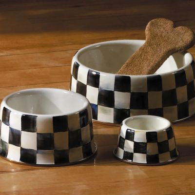 Courtly Check Enamel Pet Dish - Large