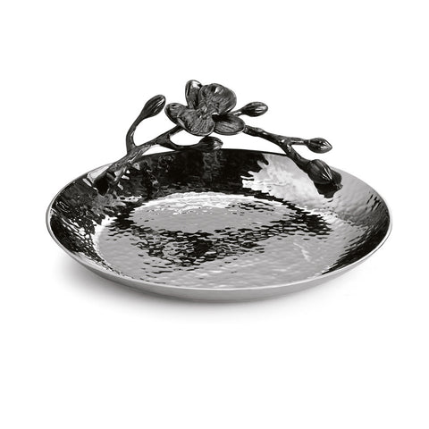 Black Orchid Round Trinket Tray