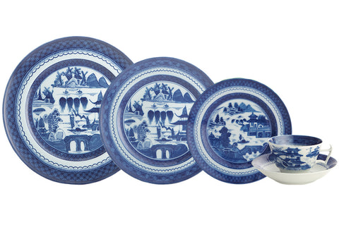Blue Canton Five Piece Place Setting