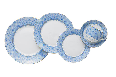 Cornflower Blue Lace Five Piece Place Setting