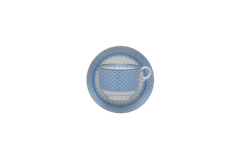 Cornflower Blue Lace Tea Cup & Saucer