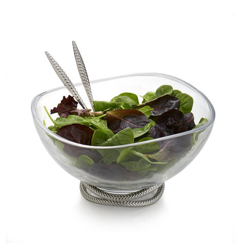 Braid Glass Salad Bowl w/ Servers