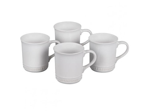 White Mugs, Set of 4