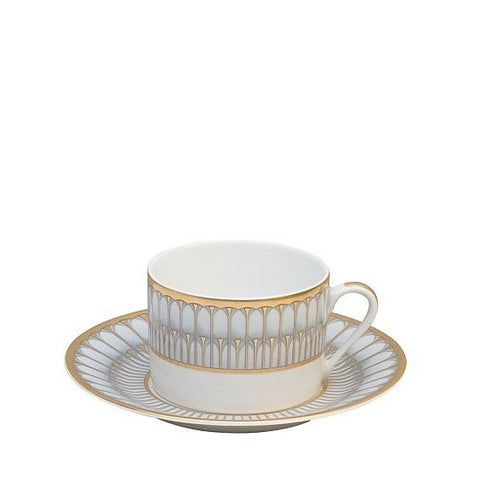 Arcades Grey & Gold Tea Saucer