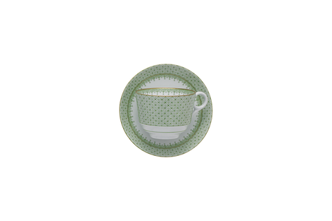 Apple Green Lace Tea Cup & Saucer
