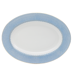 Cornflower Blue Lace Oval Platter