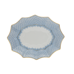 Cornflower Blue Lace Medium Fluted Tray