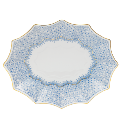Cornflower Blue Lace Large Fluted Tray