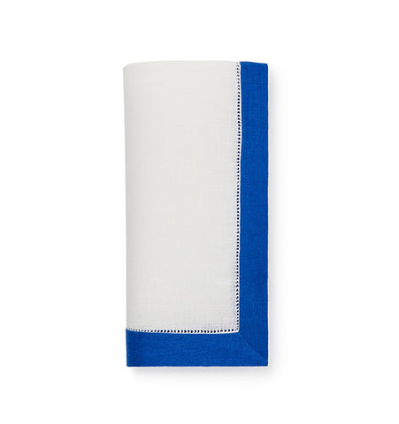 Filetto Dinner Napkins S/4 White/Royal Blue