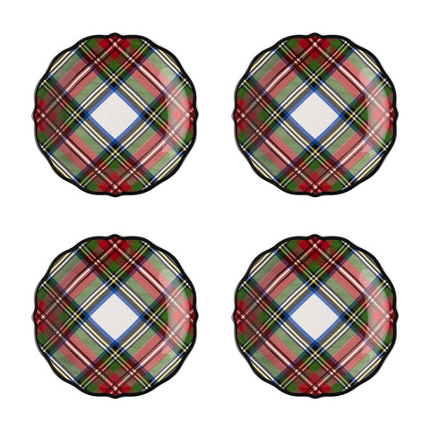 Stewart Tartan Cocktail Plates Set/4