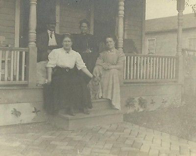 CABINET PHOTO FAMILY POSING OUTDOORS ON PORCH STEPS W/ DOG - Back from the dead antiques