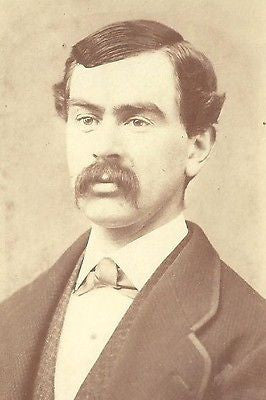 CDV PHOTO STURDY VICTORIAN GENTLEMAN GREAT THICK HUGE MUSTACHE SLICKED HAIR