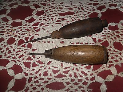 ANTIQUE PRIMITIVE ICE PICKS 2 WOOD HANDLES LATE 1890'S - Back from the dead antiques