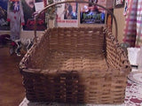 ANTIQUE PRIMITIVE OAK BASKET HAND WOVEN GATHERING APPLE BASKET CA 1800'S XL - Back from the dead antiques