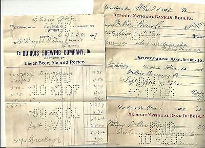 ANTIQUE BANK CHECK DRAFT DOCUMENT DUBOIS BREWING COMPANY BEER PENNSYLVANIA 1907 - Back from the dead antiques