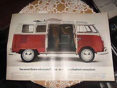 1966 VW Volkswagen Bus Funny Elephant Vintage Magazine Print ART Ad - Back from the dead antiques