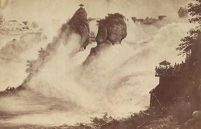 CABINET PHOTO ALBUM PRINT RHINE WATERFALL SWITZERLAND - Back from the dead antiques