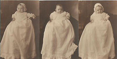 ANTIQUE PHOTO ADORABLE LITTLE BABY IN LONG WHITE CHRISTENING GOWN 1917 GEORGIA - Back from the dead antiques